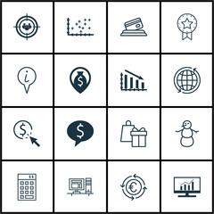 Set Of 16 Universal Editable Icons. Can Be Used For Web, Mobile And App Design. Includes Icons Such As Info Pointer, Winter, Currency Recycle And More.