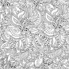 Hand drawn zentangle flowers and leaves seamless pattern