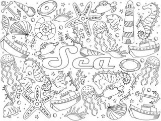 Sea line art design vector illustration