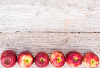Fototapete - Apfel Rot Früchte Holz Hintergrund