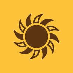 The sun icon. Sunrise and sunshine, weather, sun symbol. UI. Web. Logo. Sign. Flat design. App. Stock