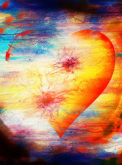 heart shape in the sky, abstract graphic collage background.