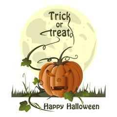 Halloween design. Jack-o'-lantern on a background of the full moon. Illustration for Halloween