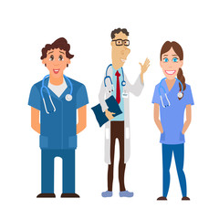 Medical team. Group of hospital workers vector