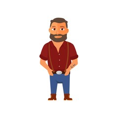 Cartoon hipster character with beard. Vector