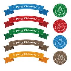 クリスマス素材 リボンとシールデザイン