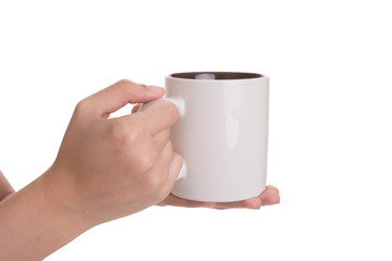 hand holding coffee cup isolated on white background.