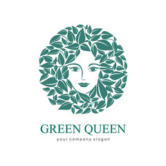 Green Queen Logo. Logo for cosmetic, beauty, Spa