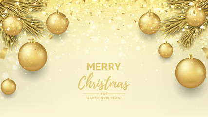 Merry Christmas and Happy New Year background. Beautiful gift card with golden balls on fir tree branches. Elegant vector illustration with gold confetti for xmas design.