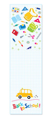 Back to school. Vertical banner or bookmark