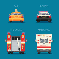 Police, Taxi, Ambulance car and Firetruck. Vector cartoon illustration