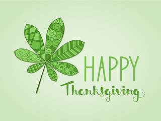HAPPY THANKSGIVING card with leaf