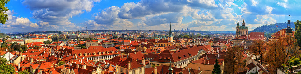 Panorama of Prague on a sunny day. HDR - high dynamic range