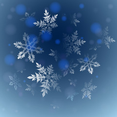 dark blue background with snowflakes, vector