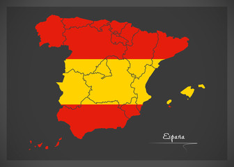 Spain map artwork with national flag colors illustration
