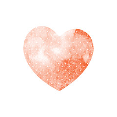 Watercolor red heart with polka dots on a white background. Vect