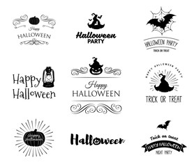 Halloween party invitation label templates with holiday symbols - witch hat, bat, pumpkin, ghost, web. Halloween. Badges set Use for party posters, flyers, cards, invitations, design.