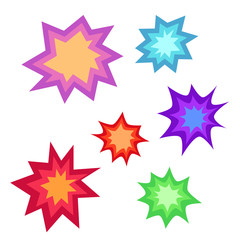 Star bursting boom.Comic book explosion set. Hand drawn vector