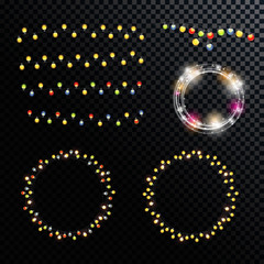 Abstract Golden Shiny Multicolored Garland Lamp Bulbs on a Trans