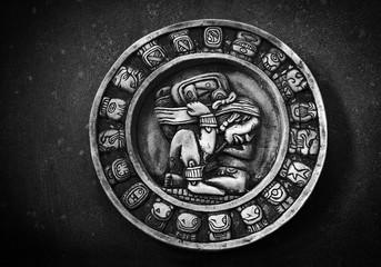 Carved Mayan calendar