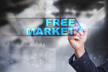 Business is drawing on virtual screen. free market concept.