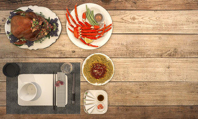 3d rendering look delicious main dish on wooden table