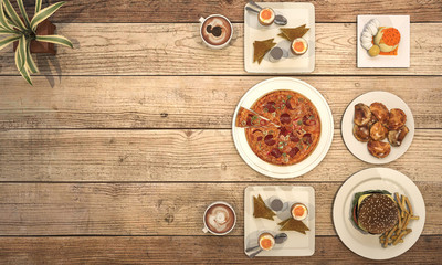 3d rendering nice meal with pizza on wooden table