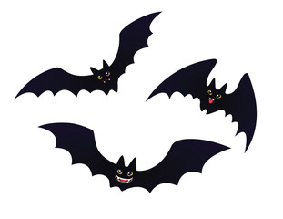 Cute flying Bats in flat cartoon style.