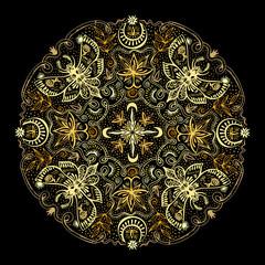 Mystic Symbols Golden Mandala