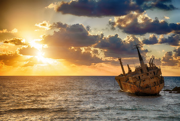 famous  boat EDRO III shipwrecked. Paphos. Cyprus.