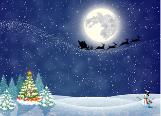Christmas landscape at night