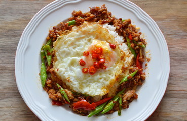 fried minced pork and yard long bean in sweet chili paste and egg