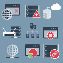 Database server and networking icon set