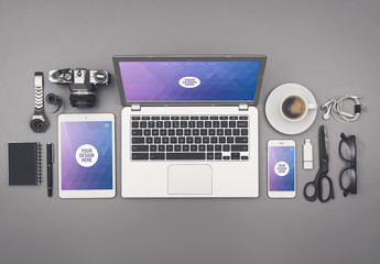 Laptop, Tablet, and Smartphone on Organized Gray Desk Mockup 3 - Purple Geometric 2