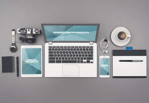 Laptop, Tablet, and Smartphone on Organized Gray Desk Mockup 4 - Teal Geometric