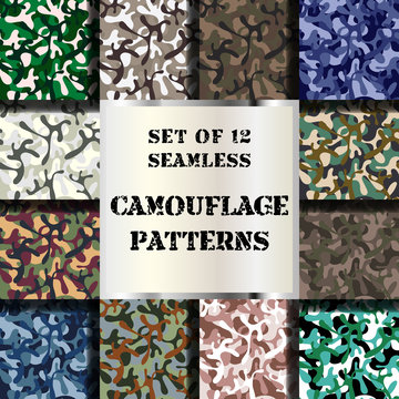 Set of 12 seamless camouflage patterns. Vector collection of classic woodland, navy, desert & arctic seamless camo backgrounds.