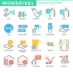 Flat thin line Icons set of E-commerce and Shopping. Pixel Perfe