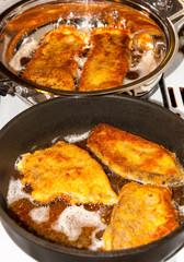 Czech traditional fried fish - carp for Christmas Eve dinner