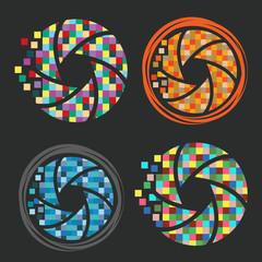 Set of camera pixel art shutter icons. Vector illustration