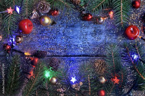 Décoration De Noël Sur Fond Bois Bleu