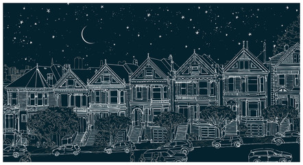 Hand drawn black and white illustration of the city of San Francisco at night. Architectural ensemble of similar Victorian houses - Painted Ladies. Beautiful starry sky with the moon. Travel postcard.