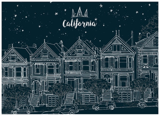Hand drawn black and white illustration. Urban landscape of San Francisco at night.  Architectural ensemble of similar Victorian houses- Painted Ladies. Beautiful starry sky. Postcard