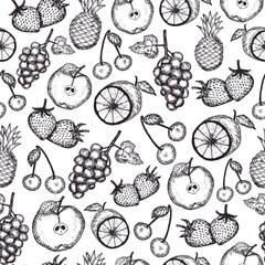 Hand draw fruits seamless pattern