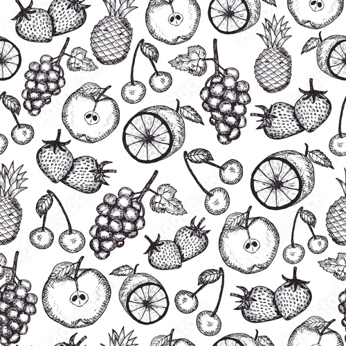 Hand Draw Fruits Seamless Pattern Stock Image And Royalty Free