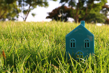 Image of vintage house in the grass, garden or park