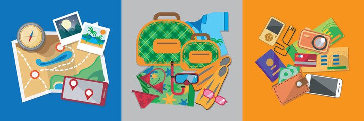 Travel flat design banner set with bag, passport, glasses, mask, shirt, compass, hat, bikini and other.