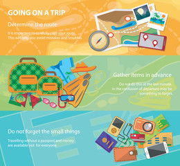 Going on a trip. Travel flat design banner set with bag, passport, glasses, mask, shirt, compass, hat, bikini and other.