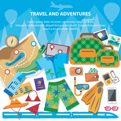 Travel flat design banner with bag, passport, glasses, mask, shirt, compass, hat, bikini and other.