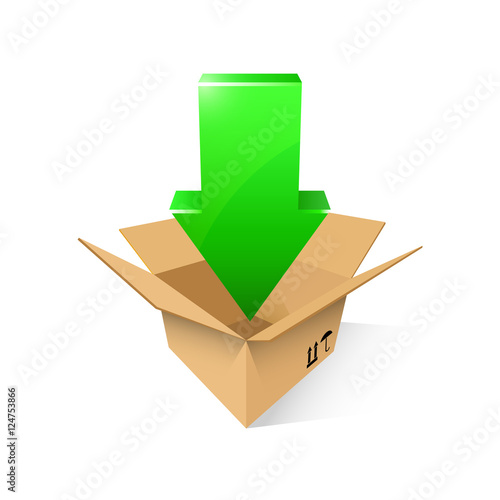 Open cardboard box with green arrow, vector illustration, isolated