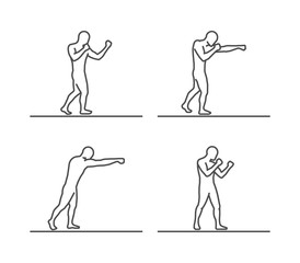 Line silhouettes of boxing.